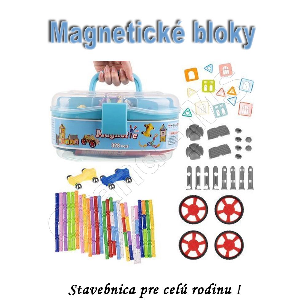 Veľká magnetická stavebnica MAGNETIC / magnetické bloky 328ks