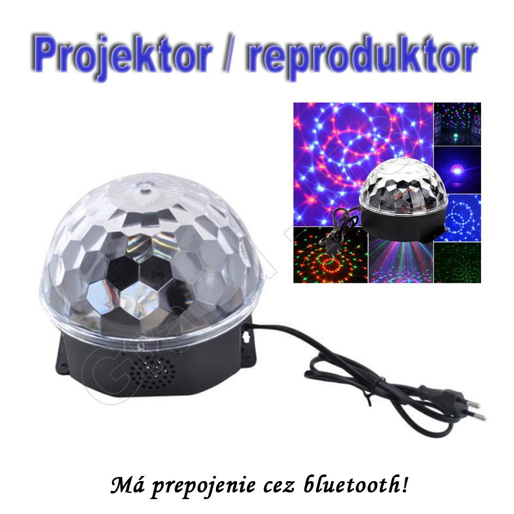 Projektor/reporoduktor - RGB disco guľa s prepojením cez bluetooth a vstupom USB