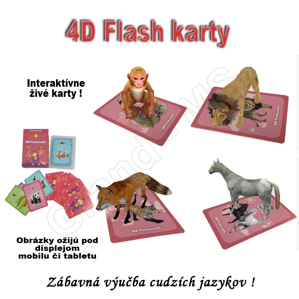 4D Flashcards - vzdelávacie interaktívne karty pre výučbu cudzích jazykov  50ks