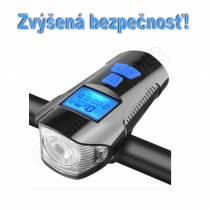Vodeodolné svetlo na bicykel s tachometrom a zvončekom 3v1