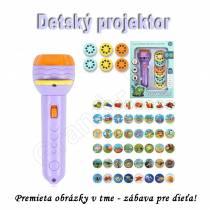 Zábavný detský mini projektor FLASHLIGHT so 48 obrázkami  - fialový