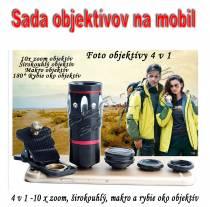 Sada objektívov na mobil 4 v 1 - 10x zoom, makro, širokouhlý + rybie oko