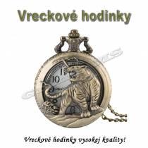 Vreckové hodinky - retro bronzový TIGER 3D dizajn