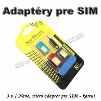 Adapter Nano micro na SIM kartu - 4 v 1 + kľúč