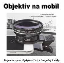 Sada objektívov na mobil 2 v 1 - širokouhlý 0,45x a makro 12,5x