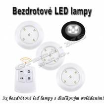 Sada 3 bezdrôtových LED svietidiel na diaľkové ovládanie