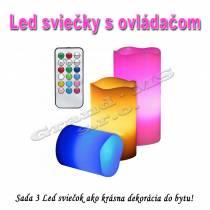 LED sviečky - sada 3ks s ovládačom