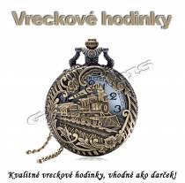 Vreckové hodinky - retro bronzový VLAK 3 3D dizajn