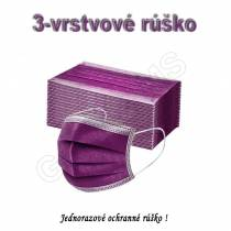 Rúško jednorazové 3-vrstvové fialové 1ks