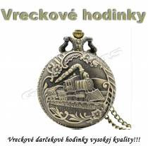 Vreckové hodinky - retro bronzový VLAK 4 3D dizajn