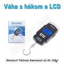 Prenosná závesná digitálna váha s hákom a LCD do 50kg