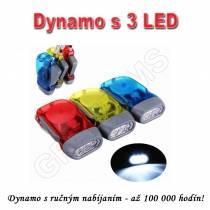 Dynamo s  ručným nabíjaním 3 LED
