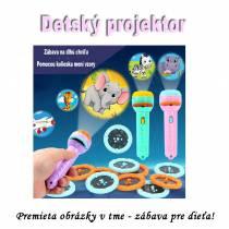 Zábavný detský mini projektor FLASHLIGHT so 48 obrázkami  - ružový