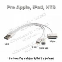 Nabíjací usb kábel 3 v 1 pre Android i iPhone, biely