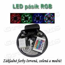 Vodeodolný svetelný LED pás RGB, 5m + zdroj + ovládač